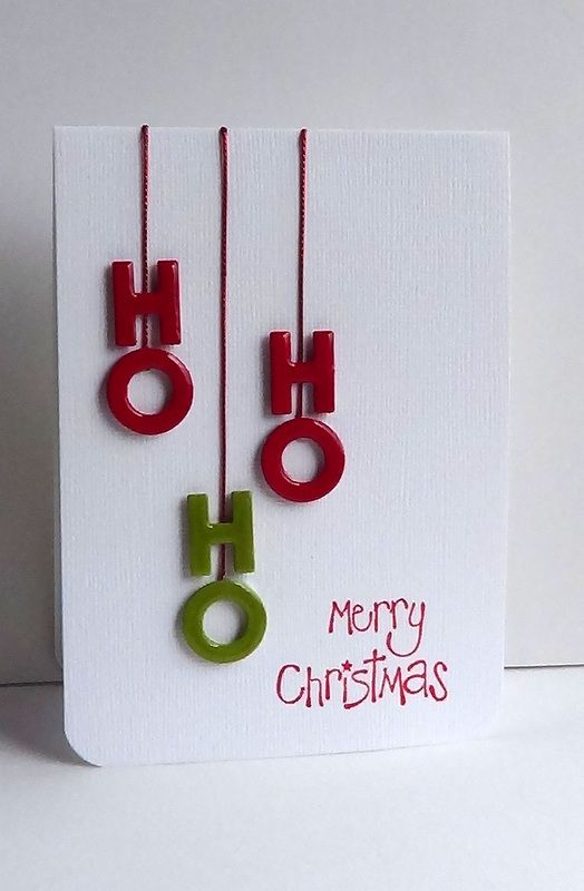 handmade Christmas card: I'm in Haven: CAS(E) This Sketch! #9 ... HO, HO, HO ... hanging from little notches at the top of the cards ... layered up the die cut paper and covered with cristal glaze ... clean and simply fun!