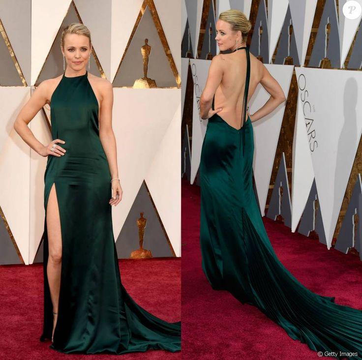 Rachel McAdams, atriz de 'Spotlight', usou um longo verde com uma fenda na perna do ateliê August Getty. O superdecote nas costas também se destacou no look da atriz