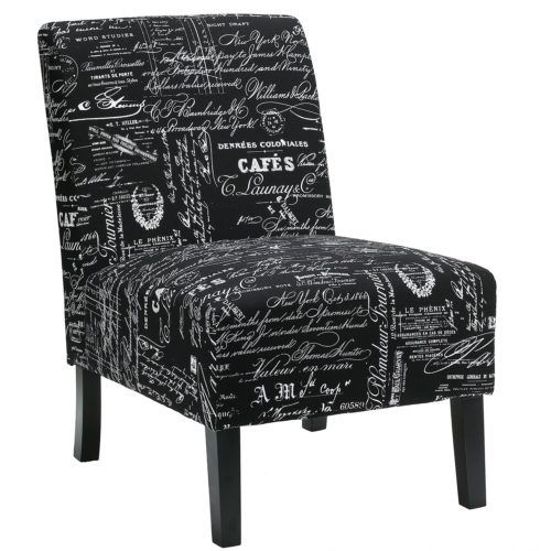 Spiritual Script Accent Chair: The Black Script Chicco Fabric Armless Accent Chair By