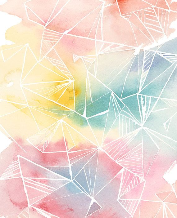#pastel Handmade Watercolor Archival Art Print Color by YaoChengDesign