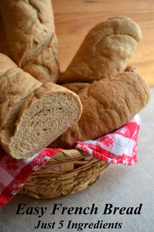 Easy French Bread Recipe - This simple 5 ingredient recipe is great to accompany soup and salad, or a hearty stew or for making bread bowls for soup.