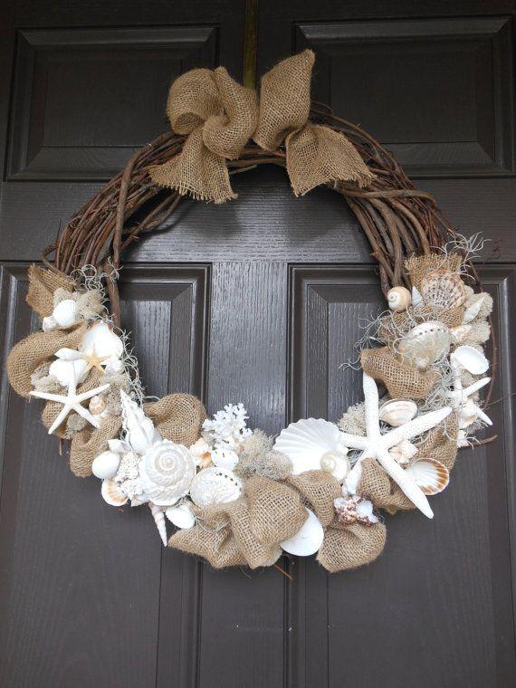 "http://www.pinterest.com/dorpher/sea-shells/Wreath 24"" Sea Shell add orange to…"