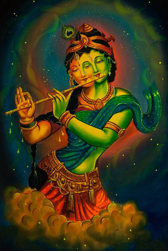 Hindu-Gottheit - bunte psychedelische Kunst Hand bemalte handgefertigte UV Acryl fluoreszierende Malerei Blacklight aktiv Kulisse Original