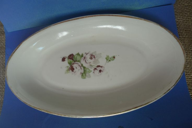 Old USSR Soviet Latvia Porcelain Oval Plate dish mark RPF Riga 1950s 1960s Rose