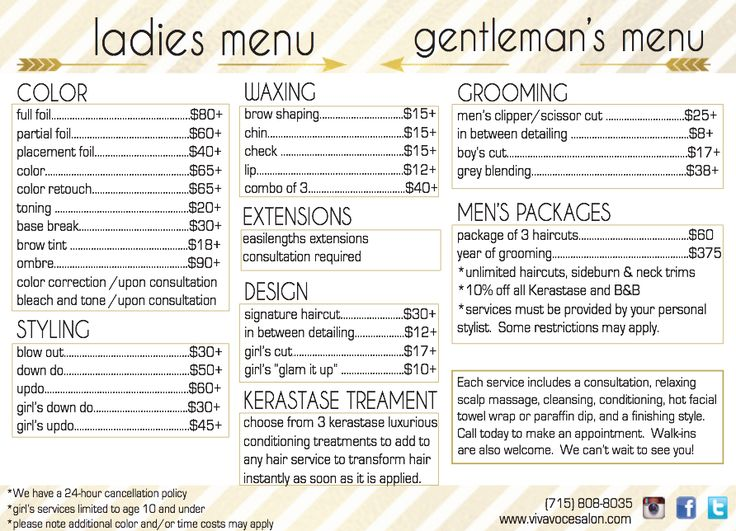 15 Best Ideas About Salon Menu On Pinterest Hair Salon