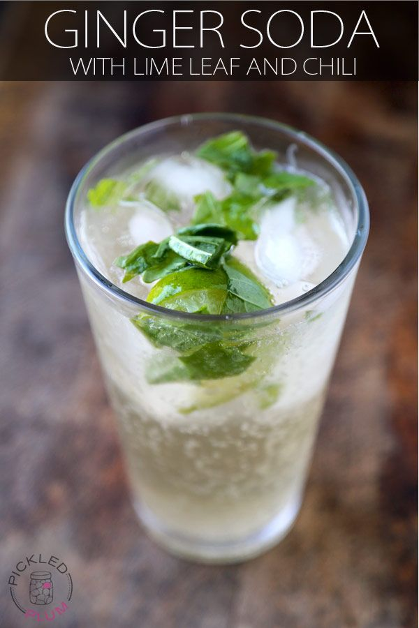 Get this refreshing, spicy and healthy home made ginger soda with lime leaf and chili recipe at Pickled Plum. Step by step photos and printable recipe.
