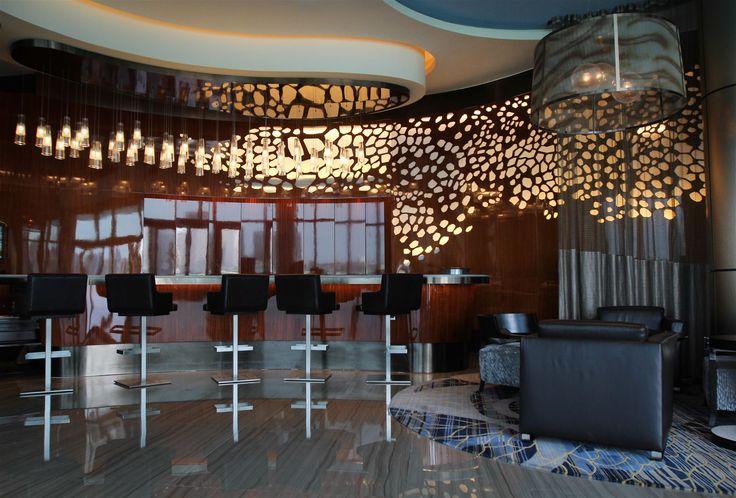 Rosewood Hotel Abu Dhabi, United Arab Emirates. #bar #lighting #design #crystal #glass #hospitality