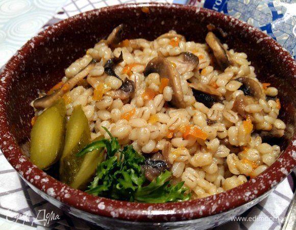 Перловая каша с грибами рецепт с фото пошагово