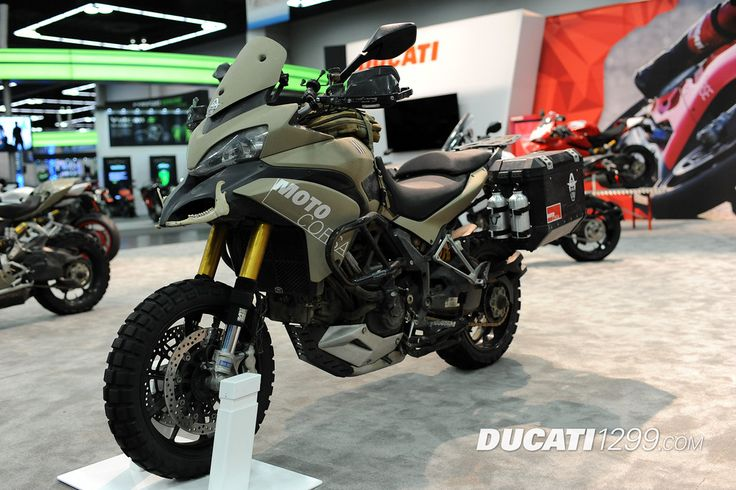 MotoCorsa transformed a 2011 Ducati Multistrada into this very unique Ducati TerraStrada, which has knobbies, Ohlins suspension, Trax bags, and SW Motech engine guards.