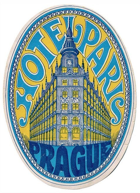 Vintage Luggage Label - Hotel Paris in Prague