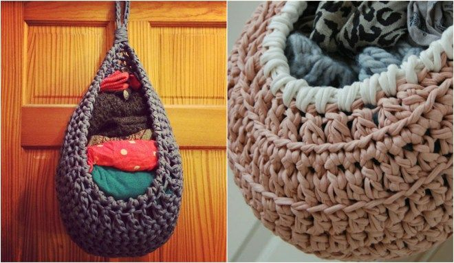 Crochet Large Hanging Basket with video
