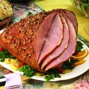 Glazed Ham With Pecan Crust!