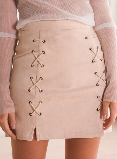 Women's Faux Suede Slim Bodycon Lace up Skirt