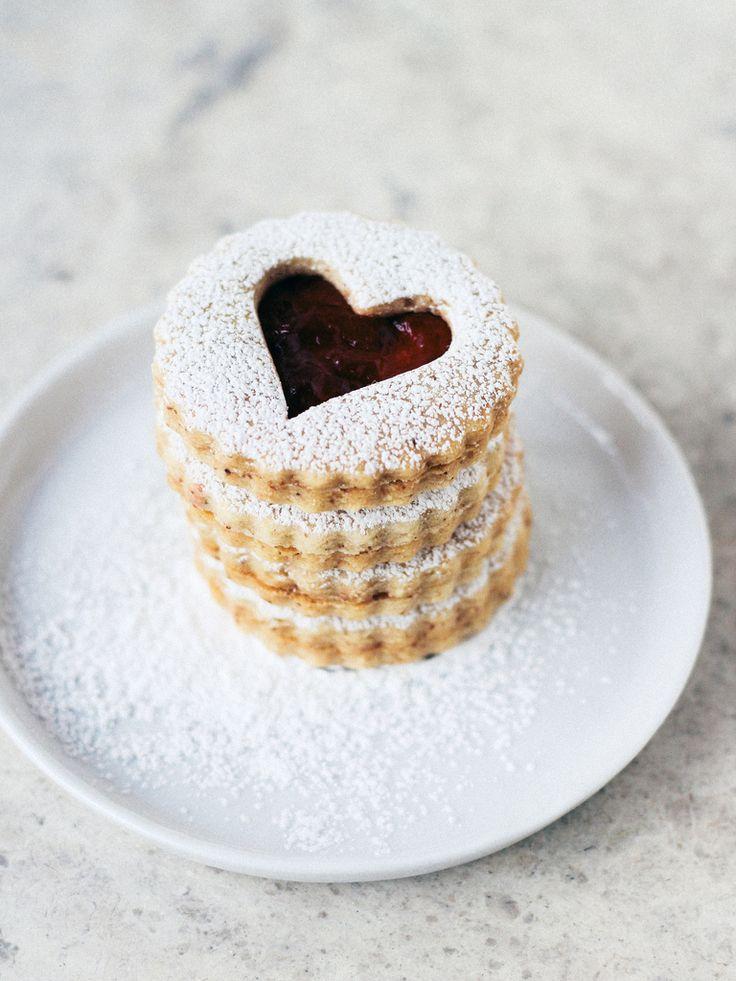 Almond linzer cookies with cherry preserves. #vegan #vegetarian #veganrecipes