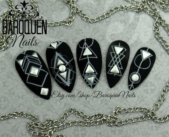 "Gothic Matte Black Nails Witch Occult Nail Art ""Sigil"" Made To Order- Fake Nails   False Nails   Press On Nails   Glue On Nails Nail Tips"
