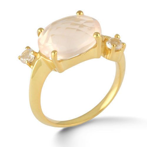 Genuine Rose Quartz Stone Gold Plated Jewelry Pure 925 Sterling Silver Ring SZ 6 #Rinnga