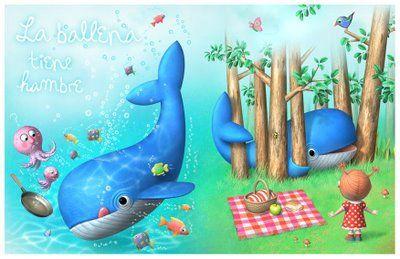 LARA DOMBRET -  Ilustradora Argentina -  La ballena tiene hambre