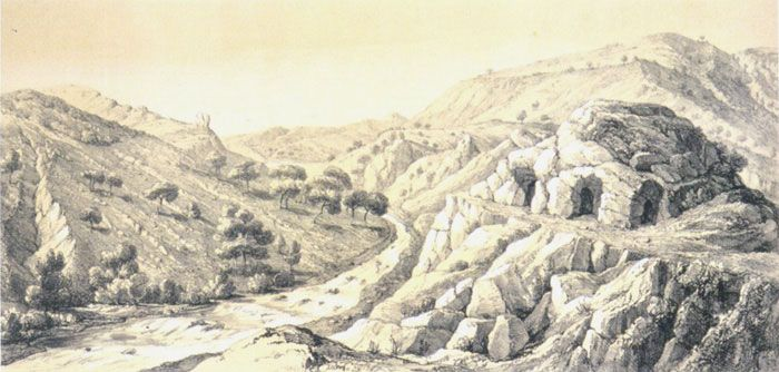 19th century engraving of the valley of Bornova [Meles] stream where the reputed Homeros's cave was believed to be by the local populace in times past - present day view of this supposed cave(s).