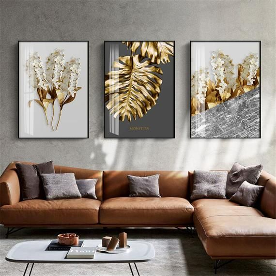 Nordic Golden Abstract Leaf Flower Wall Art Canvas Painting Etsy Gold Wall Art Leaf Wall Art Flower Wall Art Beautiful canvas for living room