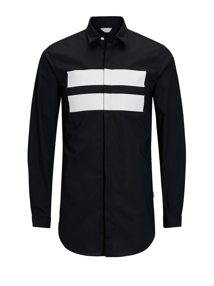Slim fit, graphic long sleeved shirt in black and white, with sharp point collar, made from cotton   JACK & JONES