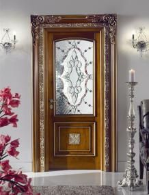 #door with decorated glass