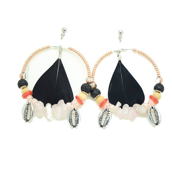 Tribal earrings - ethnic chic - black coral - shell - pen - pearls