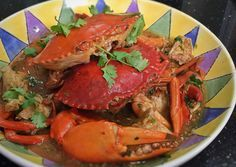 This is a recipe for the original chilli crab which was served in the 50s in Singapore. Best eaten with toasted french loaf while sitting on wooden benches.