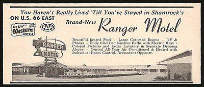 Ranger Motel Ad Rt66 Shamrock Texas 1964 Roadside Ad Route 66 Travel