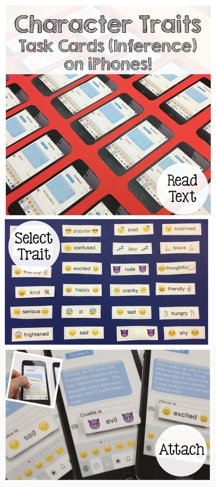 These character trait task cards are designed on realistic looking iPhones.! Students read a text message about a person and then attach the emoji character trait that matches the person's description.  Great inferencing practice and super fun for the kid