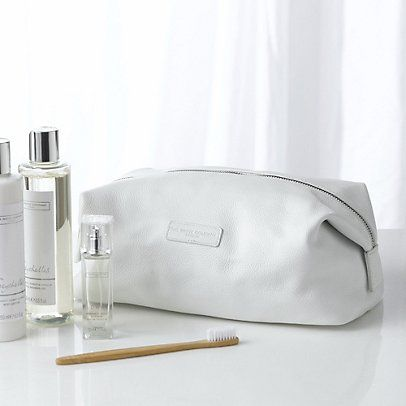 Pebblegrain Leather Wash Bag - White from The White Company