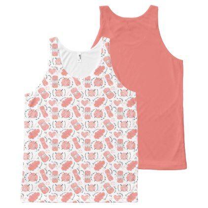 Knitting Yarn Pattern Pink All-Over-Print Tank Top - pattern sample design template diy cyo customize