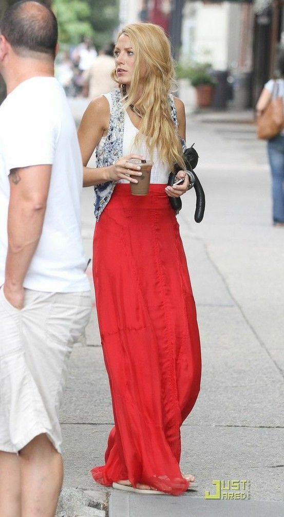 grey vest, white tank and coral maxi skirt