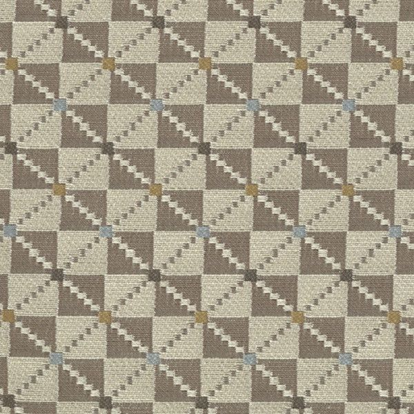 Argyle Almond Checkered Pattern Grey Upholstery Fabric