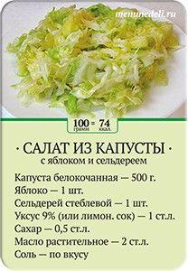 Карточка рецепта Салат из капусты с яблоком и сельдереем
