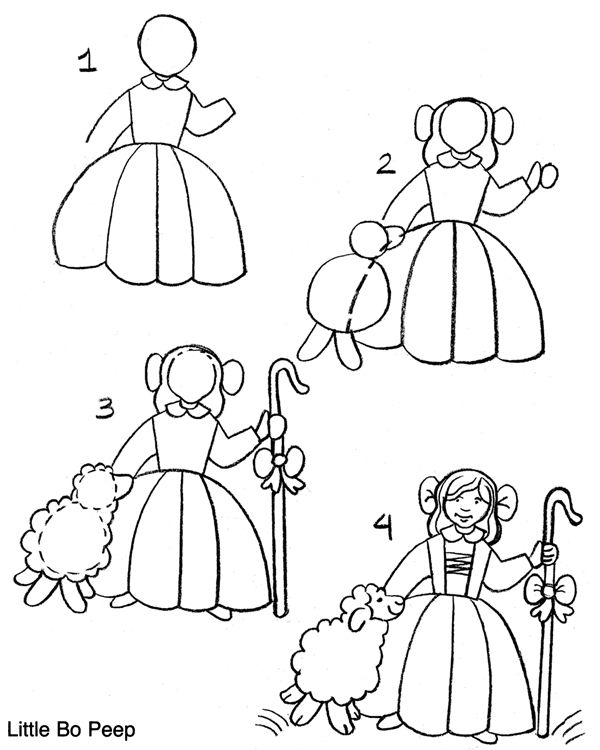 how to draw little bo peep