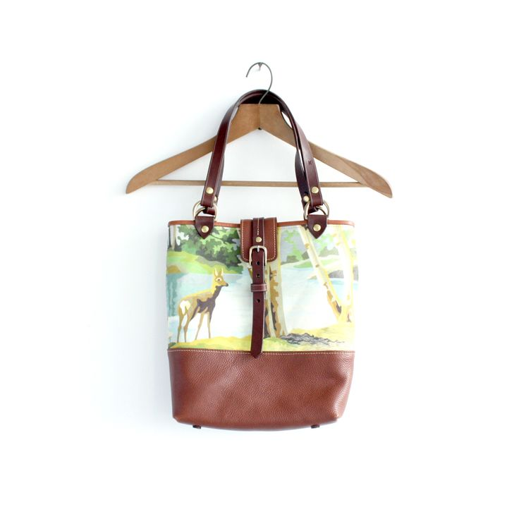 Leather and Linen/Cotton Canvas Market Bag - Paint By Number