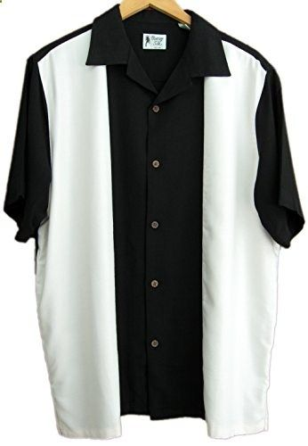 Mens Silk Retro Bowling Shirt Panel Casual XL, Black  Go to the website to read more description.