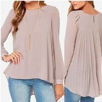 Wish | New Women Irregular Hem Chiffon Casual Tops Blouse Shirt Pleated Oversize