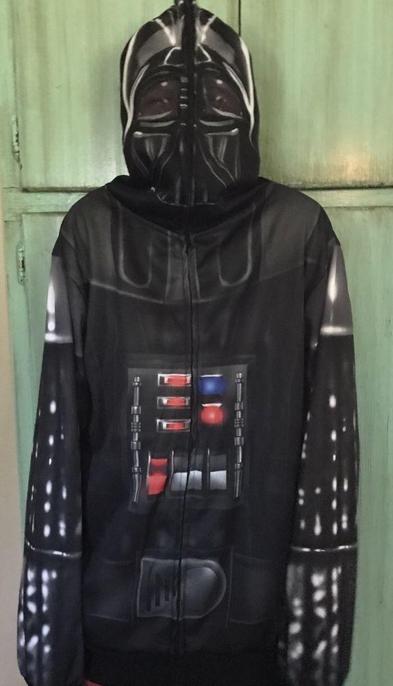 Jacket Star Wars Darth Vader Mens Boys  Hoodie Sweatshirt Zip Face Front Sz M  | eBay