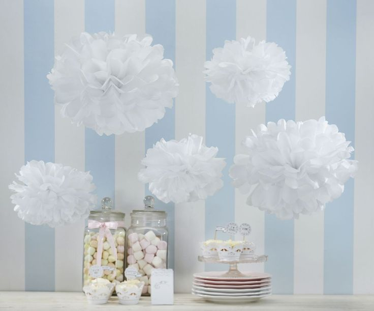 3 large and 2 small fantastic white tissue paper Pom Poms. Open them out and hang them up to create the wow factor. Pompoms are so on-trend! The Pom Poms are 32.5 cm and 25.5. cm round when fluffed out.  String them together to use as big bunting!  Check out our other pompom loveliness! www.wildflower-favours.co.uk, £4.99 per pack.