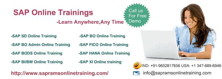 sapramsonlinetraining.com provides online trainings on various technologies.Learn SAP all modules online by certified trainers. http://www.sapramsonlinetraining.com/