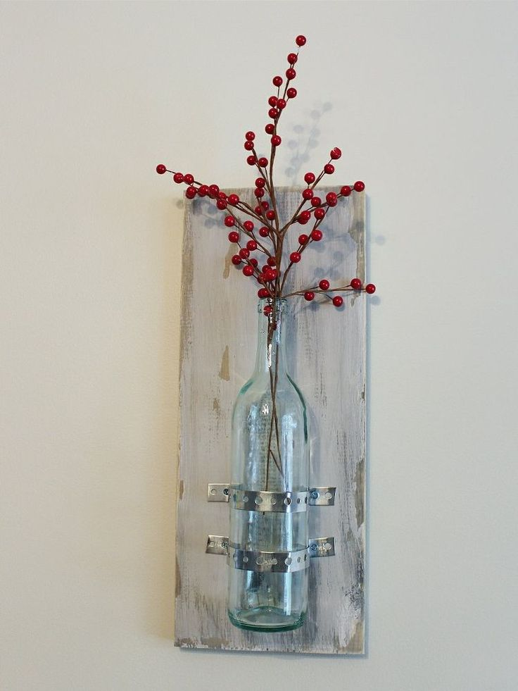 Turning wine bottles into rustic chic wall decor blank for Wall decor wine bottles