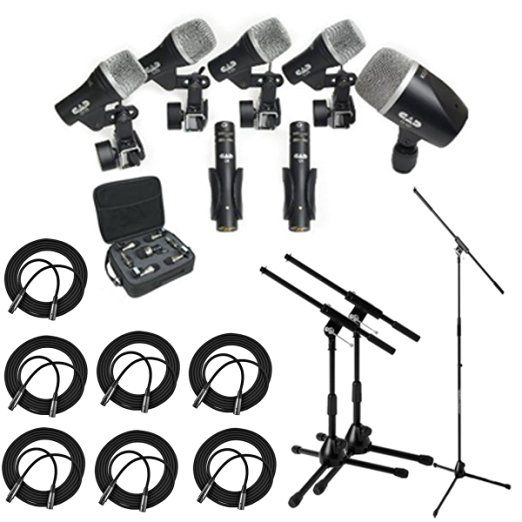 CAD Audio Stage7 Premium 7-Piece Drum Instrument Mic Pack With Vinyl Carrying Case & 7 - 25' XLR Cables + Mic Stand & 2 Kick Stands