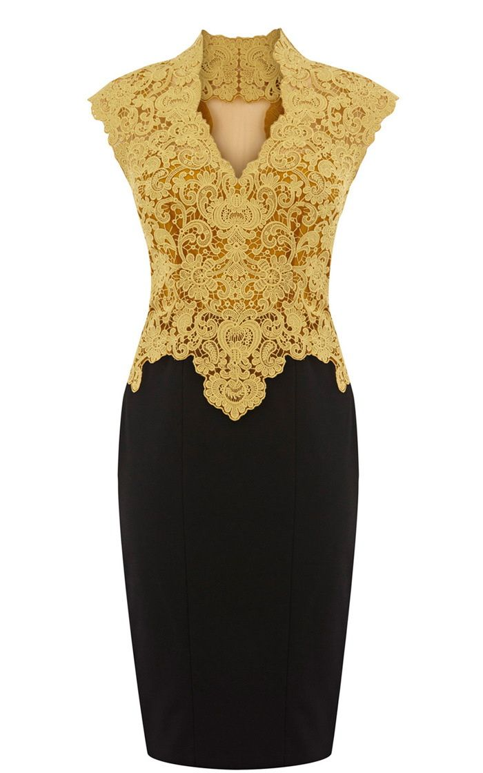 Sleeveless Lace Bodycon Dress For Women (YELLOW,L) | Sammydress.com