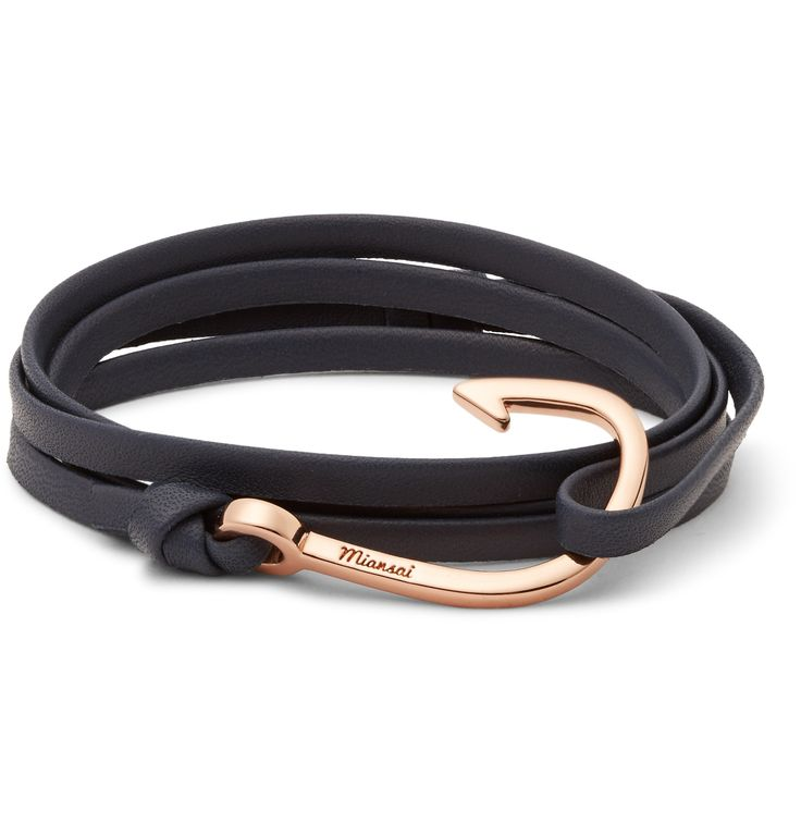 Mr Michael Saiger draws inspiration from his global travels for every <a href='http://www.mrporter.com/Shop/Designers/Miansai'>Miansai</a> bracelet. This slick design has been made in the brand's Miami studio from supple midnight-blue leather and finished with a sleek rose gold-tone brass hook fastening. Team it with everything from low-key tailoring to printed T-shirts.