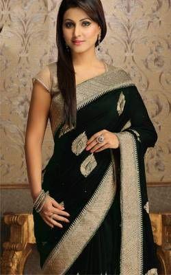 Akshara tv star black saree. I found this beautiful design on Mirraw.com