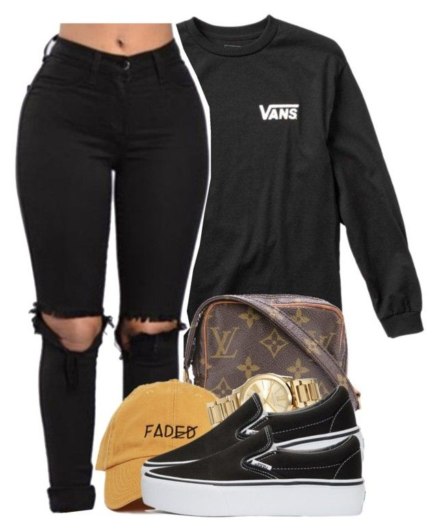 """""""Untitled #237"""" by xmonishax ❤ liked on Polyvore featuring Vans, Louis Vuitton and MICHAEL Michael Kors"""