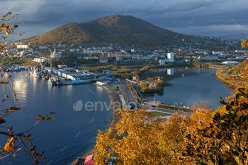 Autumn View of Petropavlovsk-Kamchatsky City and Avacha Bay in Pacific Ocean