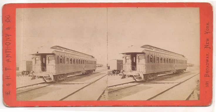 E&HT Anthony CPRR Central Pacific Railroad SILVER PALACE CAR! 1860s Stereoview