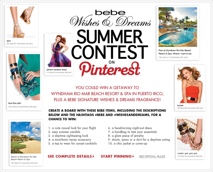 "Don't forget to email your board's link to pinterest@bebe.com or post a comment on the original contest announcement pin (located on our ""Wishes & Dreams Contest"" Pinterest board) with a link to your board.Mailto Pinterest, Contest Announcements, Announcements Pin, Summer Contest, Boards Link, Dreams Contest, Bebe Wishesanddream, Pinterest Boards, Dreams Summer"